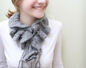 FREE SHIPPING SALE Charcoal Gray Scarflette with Drawstrings and Ruffled Flowers Scarf