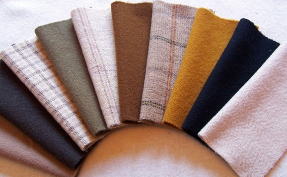 Woodland Browns in Felted Dyed Wool, 8in.x 8in. for Applique, Penny Rugs, Sewing Projects W824