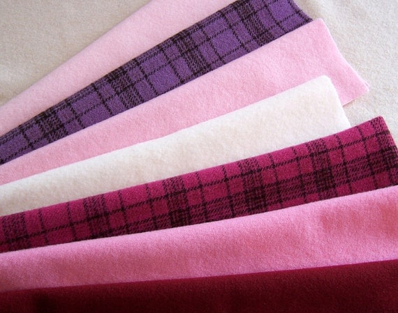 Hand Dyed Felted Wool Fabric for Rug Hooking, Applique, Penny Rugs and Sewing Projects/ H134