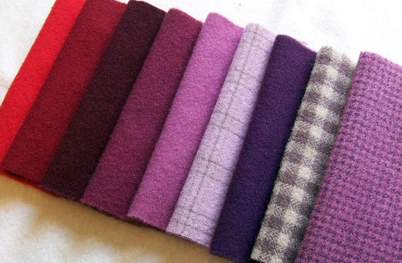 Hand Dyed Felted Wool, 8in.x 8in. - Red/Purple Shades - Textures/Solids - for Applique, Penny Rugs, Sewing Projects - W1065