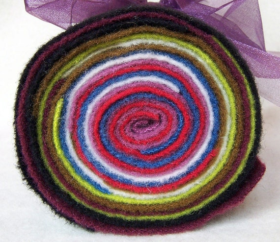 Jelly Roll of Hand Dyed Felted Wool / JR89 / Three Sheep Studio