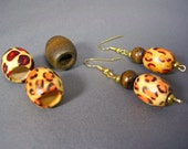 Ethnic Animal Print Wood Hair Beads and Earring Set for Locs, Twists, and Braids