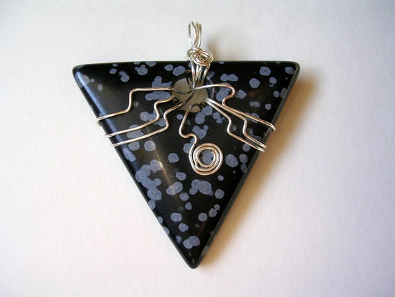 Wire-Wrapped Snowflake Obsidian Pendant