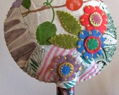 "Large ""Happy Tree"" - Vintage patchwork with felt applique"