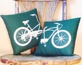 Bike Pillows - Tandem Bike - Set of 2 - Forest Green