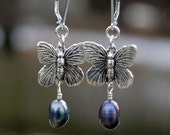 Silver Butterfly and Peacock Pearl Earrings