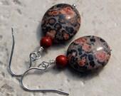 Leopardskin and Red Poppy Jasper Earrings