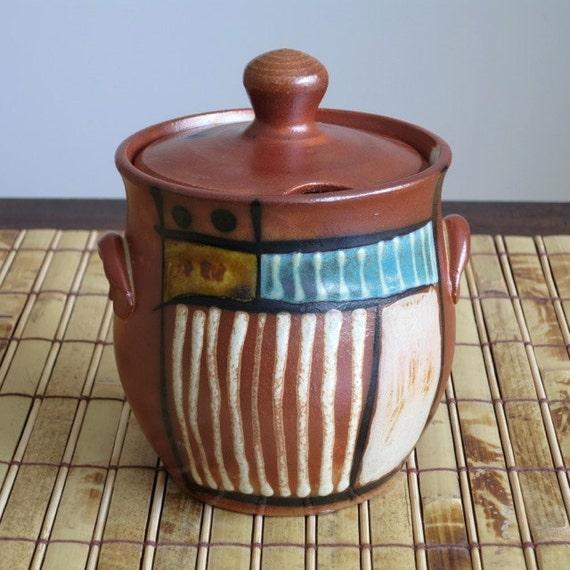 Ceramic Honey Jar - Salt Fired Stoneware Honey Jar with abstract surface design