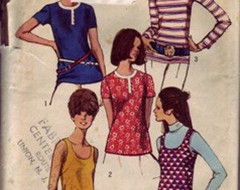 Tunic and tank top sewing pattern – 1970s