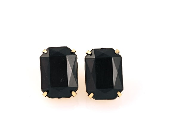Large Black Rectangle Earrings