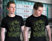 SALE A Premium Skulls and Hummingbirds Design on a Unisex Crew T Shirt - Reduced Price for Limited time