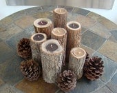 CLEARANCE - OVERSTOCK - Natural Sassafras Tree Tea Lite Candle Holders - Tall - Set of Eight