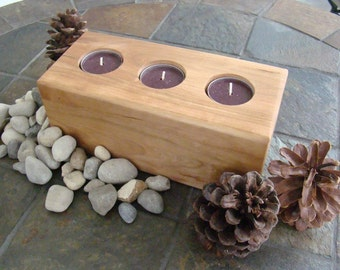 Natural Cherry Wood Triple Tea Lite Candle Holder.