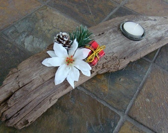 Natural Driftwood Tea Light Candle Holder with Glass Holder - Christmas Design