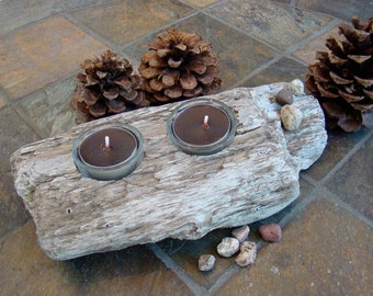 Natural Beach Driftwood Double Tea Light Candle/Jewelry Holder with Glass Holders