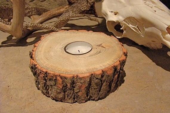 Natural Sasafras Tree Log Hand Crafted Tea Lite Candle Holder