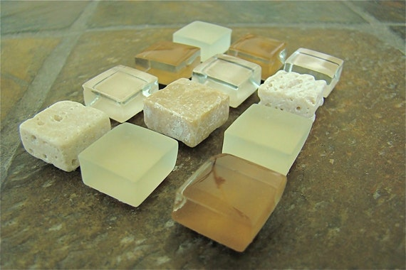Glass and Stone Tile Magnets - Set of 12