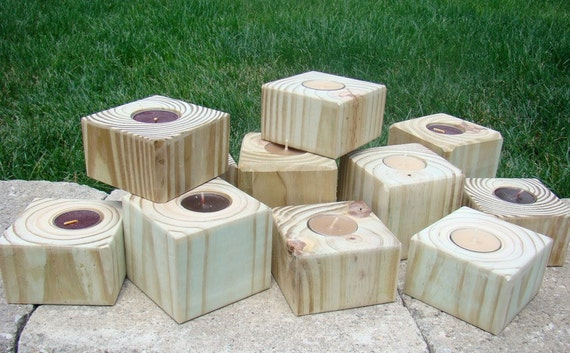 CLEARANCE - OVERSTOCK - Natural Treated Lumber Tea Lite Candle Holders - Set of Five (5)