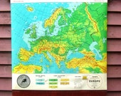 Vintage Cram's Pull Down Classroom Map of Europe