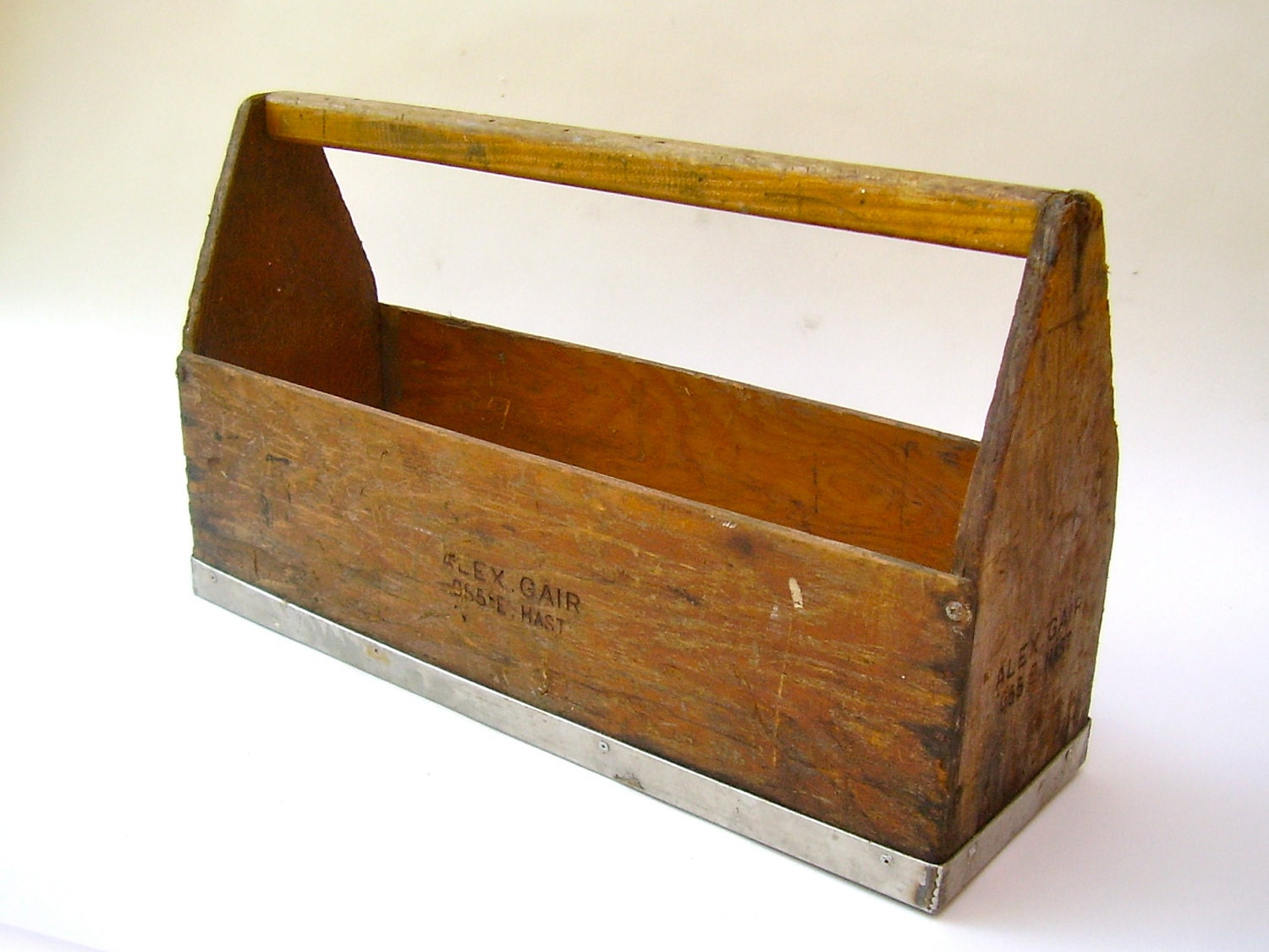 vintage wooden tool box tote