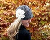 Charcoal Gray Cap w/ Visor & Detachable Flower Women Girl Brim Crochet Yarn Accessory Hat Knit Accessories Hair Fashion Gift Beanie Grey