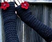 Fingerless Gloves - Blooming Midnight Black Fingerless Extra Long Gloves