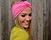 Vintage Turban Style Stretch Rayon Jersey Knit Headband in Bubblegum Pink- Multi Ways to Wear- Adjustable