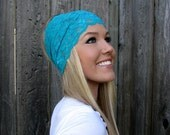 Wide Stretch Lace Headband in Teal Green