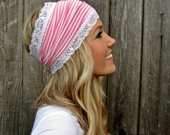 Pink and White Striped Stretch Jersey Knit Headband with Stretch Lace Trim