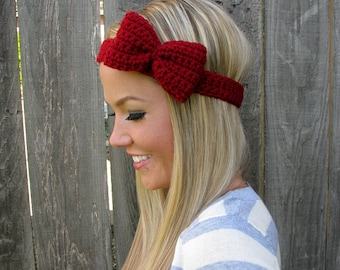 Crimson Red Crochet Bow Headband w/ Natural Vegan Coconut Shell Buttons Adjustable Hair Band Girl Woman Teen Head Wrap Cute Knit Accessories