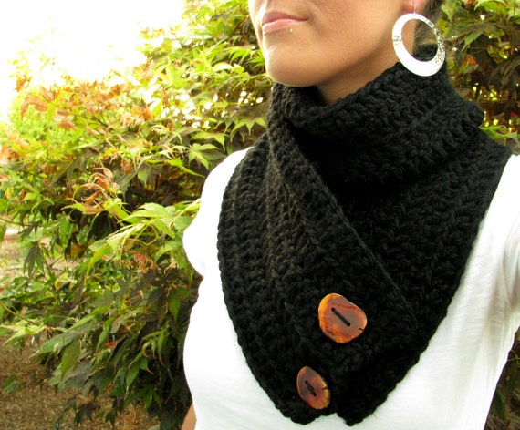 The Luxuriously Cozy Cowl with Reclaimed Wood Buttons