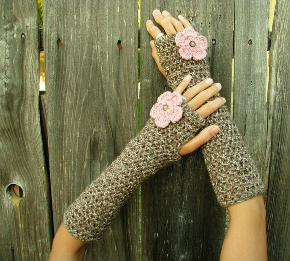 Fingerless Gloves - Blooming Brown Marble Fingerless Extra Long Gloves