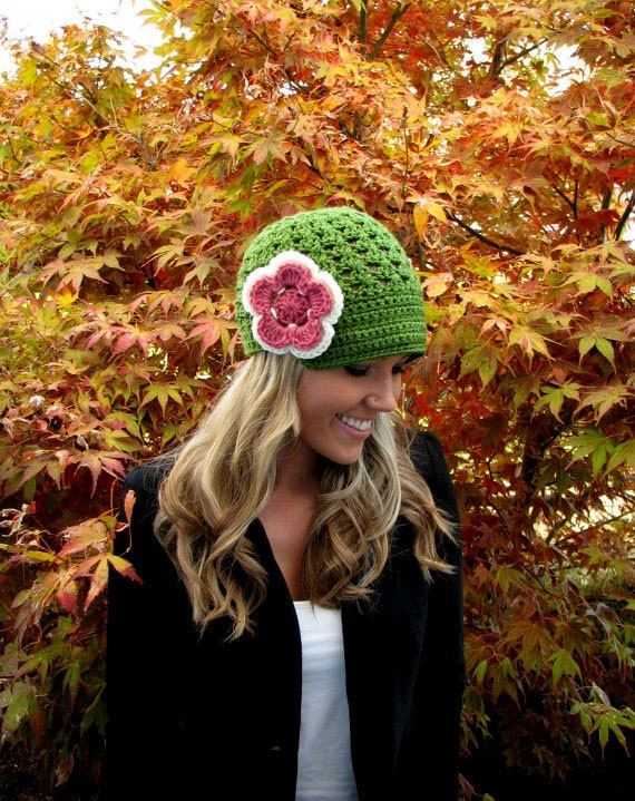 Juicy Apple Green Fun and Flirty Cap (Beanie) with Visor/Brim In High Quality Yarn With Detachable Flower