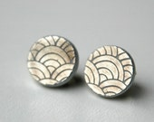 Shimmery Metallic Fish Scale Broken Plate Earrings- Recycled From Vintage China