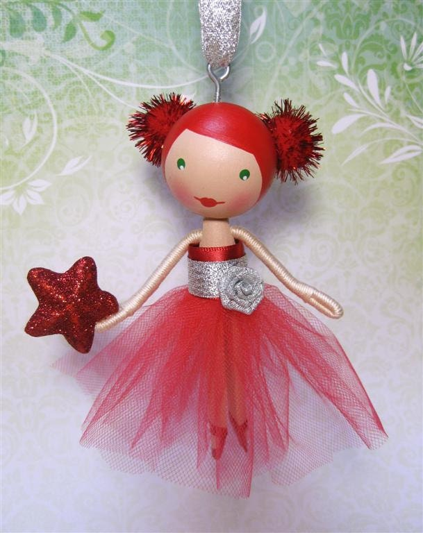 red and silver sparkle clothespin doll christmas tree ornament