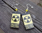 fallout shelter sign earrings post apocalypse atomic bomb nuclear radioactive earrings