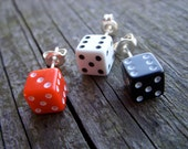 dice jewelry three small dice earrings post black red white lucky 7 las vegas stud earrings for him for her teen gamer geek rpg d6