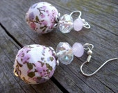 spring jewelry flower earrings fabric pale pink baby pink white sparkling