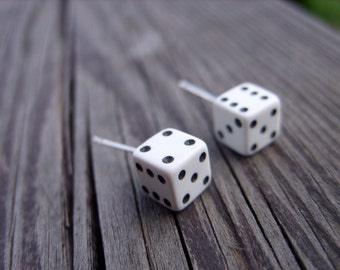 White tiny dice post unisex earrings little dices gamer geek geeky crafts