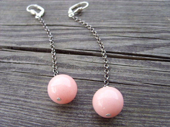 extra long sweet pink chain dangle earrings lever back candy cute honeysuckle baby pink minimalistic modern