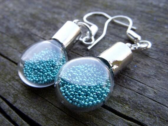 blue teal turquoise sea magical love potion magic powder miniature light bulb mini bottle glass hollow glass micro beads