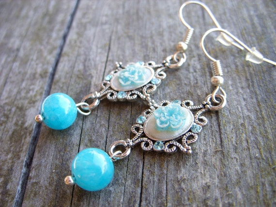 Blue Victorian cameo roses earrings pastel blue