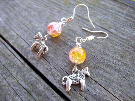 dangle horse earrings children kids toy jewelery carousel folk horse pink yellow girly girl animal miniature