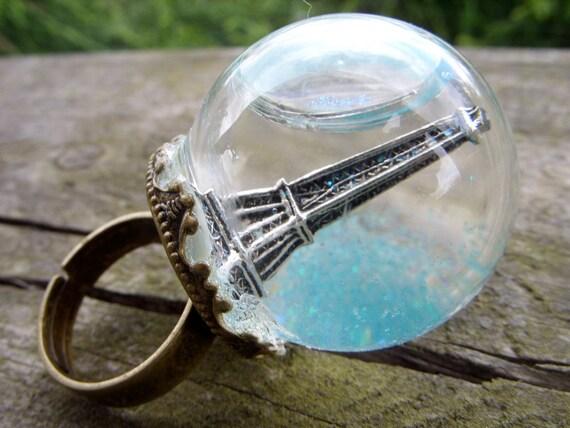 globe ring eiffel tower petit paris glass dome urban city snow globe brocade mini terrarium ring miniature terrarium jewelry