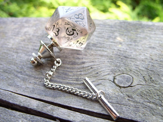 D20 dice tie pin gamers wedding mens accessory business wear geek rpg elf runes elvish die transparent see through white inscriptions
