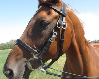 Handmade Leather Bridle-Halter, size FULL, with Matching Leather Reins