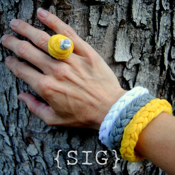 Jersey Knit Bangle Bracelets and Ring by SIGnature Creations - Set of 3 with Ring Grey, White, and Yellow