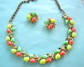 Vintage set signed BSK with colorful lucite stones consisting of choker necklace and earrings