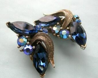 Vintage signed LISNER midnight blue earrings