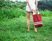Maroon Polka Dots Cotton Tote Bag with creamy laces